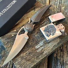 Indian & Feather Pocket Knife w/ Stainless Steel Blade w/ LIGHTER 210327-LT