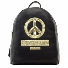 Love Moschino Women's Peace Black Leather Backpack Handbag