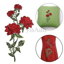 Rose Flower Applique Sewing Patch Iron-On Embroidered Motif Garment Decor Craft