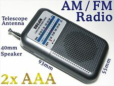 AM FM mini Portable Pocket Radio w Telescope Antenna Speaker 4 Battery 2x AAA R8