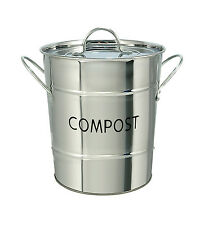 Eddington Stainless Steel Indoor Worktop Waste Compost Pail Bucket Bin Recycling