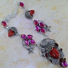 """Handmade Jasper Antique Carved Face 925 Sterling Silver Necklace 22.25"""" #J90711"""