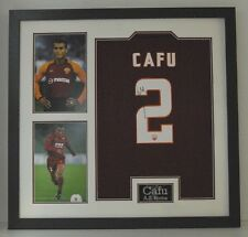 Cafu Signed & Framed Jersey A.S. Roma & BRAZIL With EXACT Proof AFTAL COA