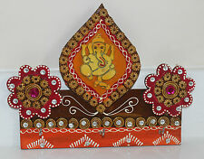 KEY RING STAND INDIAN HANDMADE BEAUTIFUL PAINTED GANESHA WOODEN WALL HANGING ART