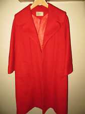 Joseph Womens Red Cashmere Wool Wide Lapel Winter Coat Long Trench Jacket Large