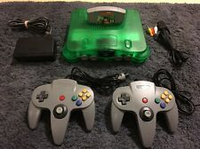 NINTENDO 64 N64 Jungle Green Console Bundle - 2 Controllers, & Diddy Kong Racing