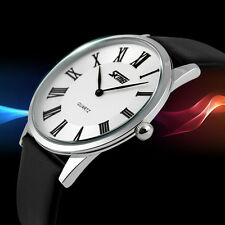 SKMEI 9092 Leater Band Ultra-thin Dial Waterproof Quartz Watch