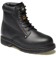 MENS DICKIES CLEVELAND SAFETY BOOTS SIZE UK 9 WORK BLACK LEATHER FA23200