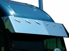 FREIGHTLINER FLD CLASSIC 132 STAINLESS DROP VISOR HAS P1 STYLE LIGHT HOLES F3000