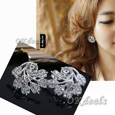 New Women 925 Silver Plated Jewelry Snowflake Leaf Crystal Ear Studs Earrings be