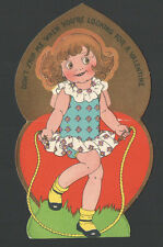 Vintage 1932 Valentines Card Girl Jumping Rope Don't SKIP Me When You're LOOKING