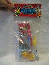 1988 vintage ToyBiz CAPTAIN POWER pencil case rubber figure & ruler set MIP !!!