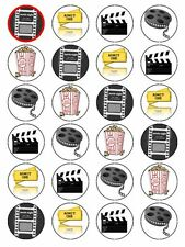 X24 MOVIE CINEMA FILM POPCORN BIRTHDAY PARTY CUP CAKE TOPPERS EDIBLE RICE PAPER