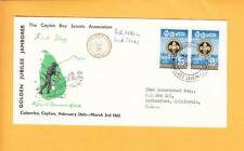 Ceylon Boy Scouts Golden Jubilee Colombo 1962 Air Cover Stamps Cancel to USA z3