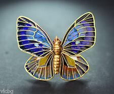 Art Nouveau Plique a Jour Painted Enamel Butterfly Brooch in 18K Gold Ruby Eyes