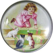 "Little Girl Playing w Cats Crystal Dome Button LgSz 1 & 3/8""  CB 06 FREE  SHIPP"