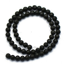6mm Natural Black Volcanic Lava Stone Round Loose Beads Spacer Gemstone 15''