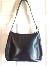 SALVATORE FERRAGAMO BLACK LEATHER SHOULDER HANDBAG W SILVER HARDWARE