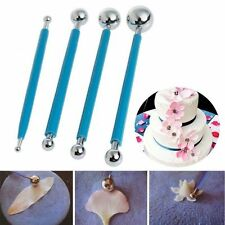 4 Pcs Fondant Cake Flower Metal Ball Modelling Decor Sugarcraft Tools