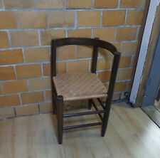 Antique Vintage Curved Back Wood Victorian Rattan Wicker Rush Seat Corner Chair