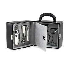 Franmara Martini Travel Bar Set with Case On-The-Go Stainless Steel Bartending