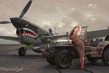 Wings of Angels Series Michael Malak Pin Up Jessamyne WWII P-40E Warhawk & Jeep