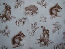 "SANDERSON CURTAIN FABRIC DESIGN ""Squirrel & Hedgehog"" 4.4 METRES HENNA/WHEAT"