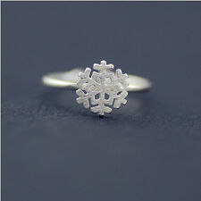 Women Simple 925 Soild Silver Drawing Snowflake Adjustable Open Sterling Ring