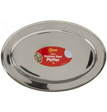 STAINLESS STEEL OVAL RICE TRAY PLATE SERVING DISH PLATTER MEAT BUFFET 40CM