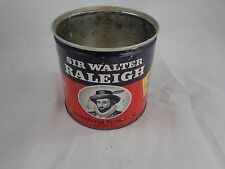 Vintage Sir Walter Raleigh Metal 14oz Tobacco Can Tin Nice Empty no Lid