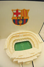3D Luxury Handmade Cards Pop Up- Barcelona Football Stadium Unusual Card DIY