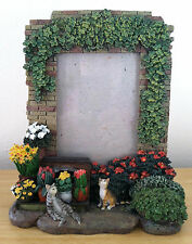 Tabby Cats in Ivy Stone Flower Garden 3D Picture Frame Holds 3 x 5 Photo
