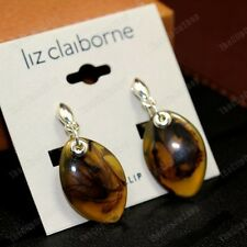 CLIP ON retro EARRINGS amber brown TORTOISESHELL LUCITE silver plated clips