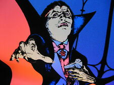 VTG 1979 PRO ARTS  BLACK LIGHT POP ART VAMPIRE DRACULA HALLOWEEN VELVET POSTER
