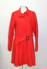 THOMAS BURBERRY Ladies Red Cotton Belted Concealed Close Trench Coat Size L