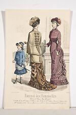 Gravure Mode XIX° Journal des Demoiselles Jeunes Femmes et Fillette à l'ombrelle