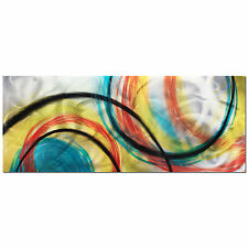 Rainbow Art Contemporary Wall Artwork Big Colorful Modern Metallic Painting Home