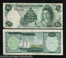 CAYMAN ISLANDS $5 P6 1974 QUEEN SAIL BOAT VF WORLD CURRENCY MONEY BILL BANK NOTE