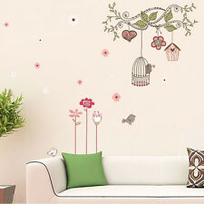 Happy Bird Cage Tree Wall DIY Removable Stickers Home Sticker Decorative Bedroom