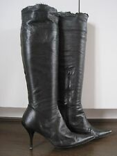 KURT GEIGER black butter soft all leather over knee boots size 4 (37) RRP £329