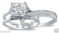 3.35 CT Princess Cut Engagement Bridal Ring band set Solid 14k White Gold