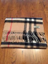 Burberry Cashmere Scarf 100% Authentic Classic Check Camel