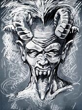 Dipinto disegno ritratto DEVIL DEMON HORNS Tongue art print poster mp3826a