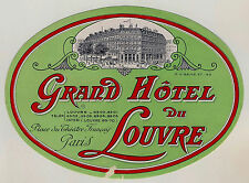 Grand Hotel du Louvre PARIS France * Old Luggage Label Kofferaufkleber