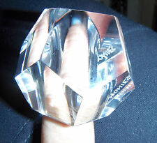 monies gerda lynggaard  signed massive runway Lucite  faceted clear ring sz 9
