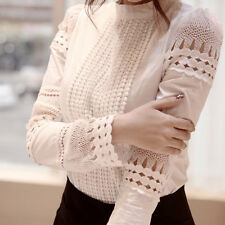 Sexy Womens Shirt OL Tops Blouse Casual Long  Sleeve Hollow Lace Cotton