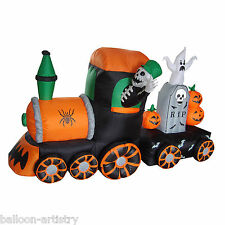 7ft Haunted Halloween Inflatable Ghost Train Outdoor Garden Party Decoration