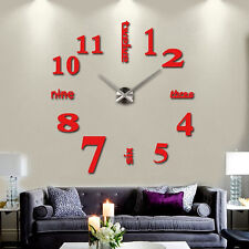 Modern DIY Analog 3D Mirror Surface Large Wall Clock Sticker Home Decor USA