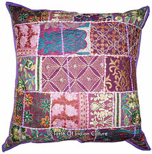 "Large 24"" Purple Handmade Cushion Pillow Cover Floor Sofa Throw Indian Decor"