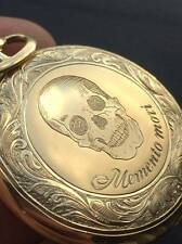 Vintage Antique Longines Memento Mori Skull Doctors 18k Rose Gold Pocket Watch